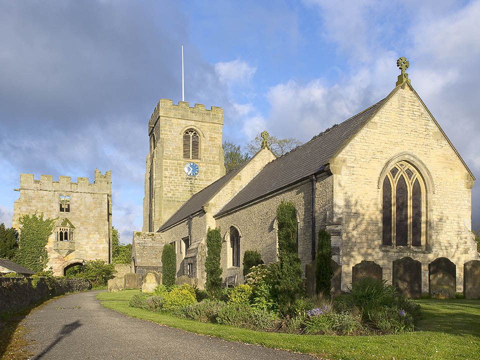 St Nicholas church, and the Marmion tower, West Tanfield