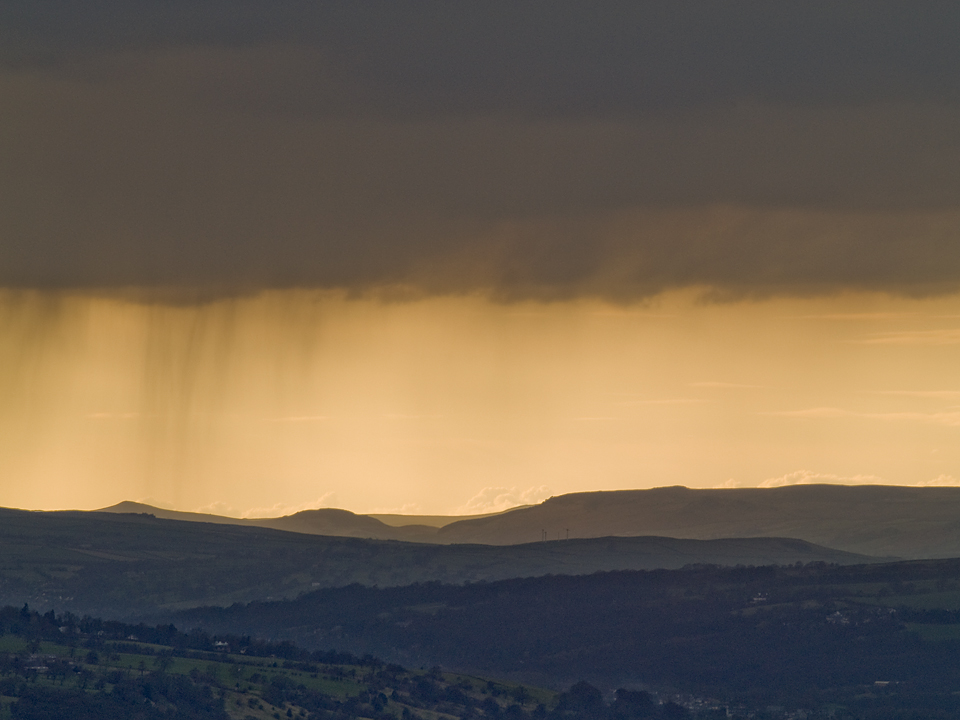 Evening showers over Wharfedale, from Otley Chevin