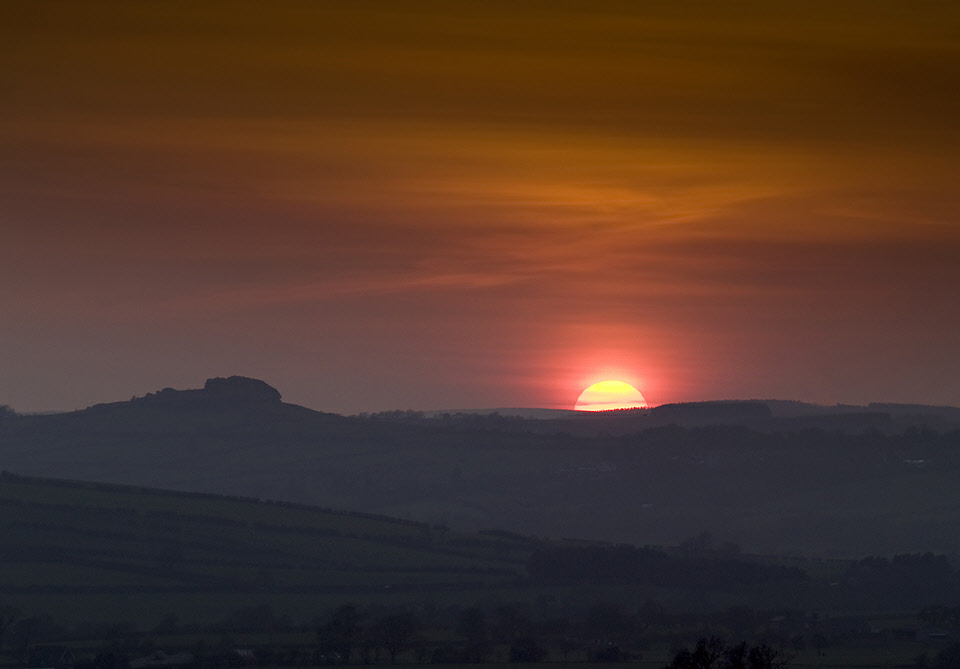 Sunset from Kearby bank with Almscliff Crag on the skyline
