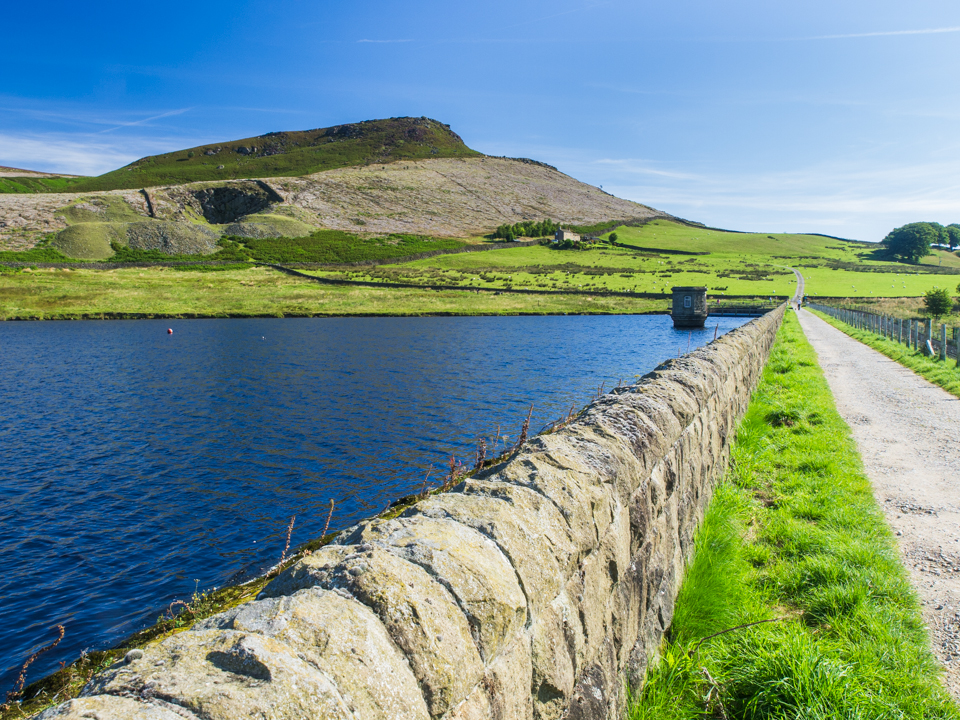 Embsay Crag from the reservoir embankment